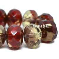 8x6mm Rondelle Ruby Red and Pale Yellow with a Bronze Finish