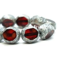 8mm Table Cut Faceted Round Ruby Red and Lady Bug Red with An Antique Silver