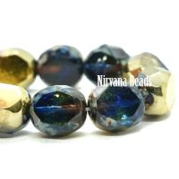 8mm Table Cut Faceted Round Sapphire and Transparent Glass with a Picasso and Gold Finish.