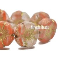 12mm Hibiscus Flower Transparent and Gold with Etched Finish and Gold Wash
