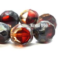 12mm Table Cut Faceted Round Ruby Red and Transparent Glass with Picasso Finish