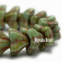 5x8mm Bell Flowers Fern with Picasso Finish