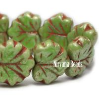 10x13mm Maple Leaf Fern with Coral Wash