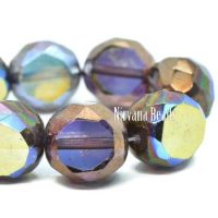 12mm Table Cut Faceted Round Purple with AB and Bronze Finishes