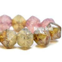 8mm English Cut Amber and Pink Mix with a Gold Luster and Picasso Finish