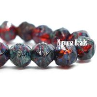4mm English Cut Ruby Red with Picasso Finish