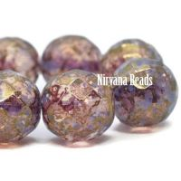 12mm Faceted Round Thistle with a Metallic Hyacinth Finish