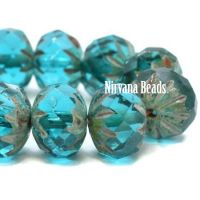 6x9mm Cruller Cyan with Picasso Finish