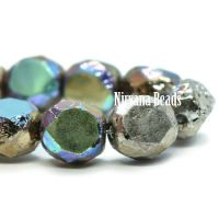 8mm Table Cut Faceted Round Rainbow Silver with An Etched Finish