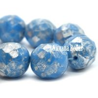 12mm Faceted Round Pacific Blue with a Silver Picasso Finish