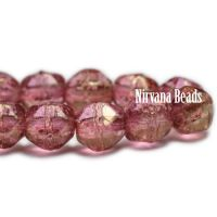 4mm English Cut Medium Pink with a Golden Luster