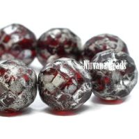 12mm Faceted Round Ruby Red with a Silver Picasso Finish