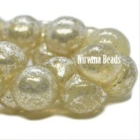 8x9mm Mushroom Button Yellow Ivory with a Mercury Finish