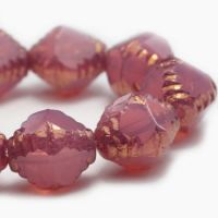 8x10mm Faceted Bicone Dusty Rose with a Gold Finish