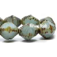 10x8mm Faceted Bicone Sky Blue with a Picasso Finish