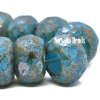 8x12mm Large Hole Roller Bead Celadon with Etched and Picasso Finish and Turquoise Wash