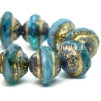 10x8mm Saturn Teal and Sky Blue with An Etched Finish and Bronze and Gold Washes.