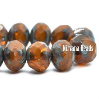 5x7mm Rondelle Alloy Orange with Picasso Finish