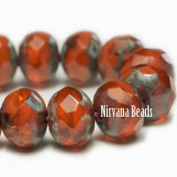 5x7mm Rondelle Orange with Picasso Finish