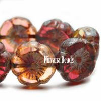 12mm Hibiscus Flower Crimson and Pale Yellow with Picasso Finish