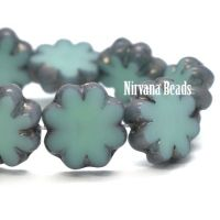 9mm Cactus Flower Blue Green with a Metallic Grey Finish