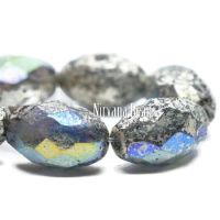 12x8mm Faceted Oval Antique Silver with An AB Finish