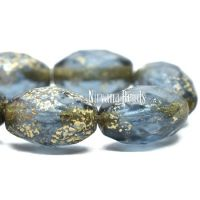 12x8mm Faceted Oval Slate Blue with Etched and Gold Finishes