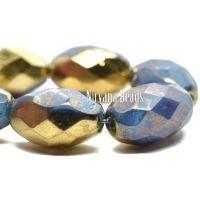 12x8mm Faceted Oval Cornflower with Gold and Hyacinth Finishes.