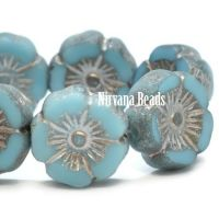 12mm Hibiscus Flower Medium Sky Blue with a Metallic Beige and Etched Finish