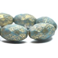 12x8mm Faceted Oval Sky Blue with Etched and Gold Finishes
