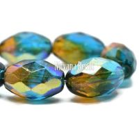 12x8mm Faceted Oval Teal, Yellow, and Green with An AB Finish
