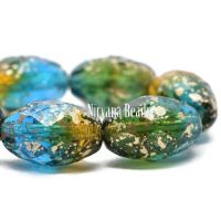 12x8mm Faceted Oval Teal, Yellow, and Green with Etched and Gold Finishes