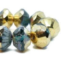 9x14mm Saucer Teal with Picasso and Gold Finishes