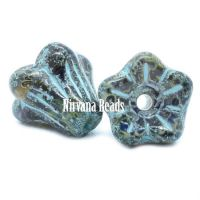 5x6mm Bell Flowers Black with Picasso Finish and Turquoise Wash