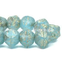 8mm English Cut Sky Blue with Etched Finish and a Gold Wash