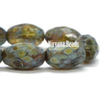 12x8mm Faceted Oval Olive and Pale Yellow with Picasso Finish