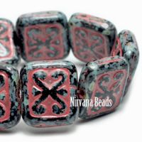11x12mm Ornamental Rectangle Black with a Picasso Finish and Red Wash