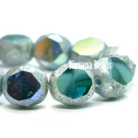 8mm Table Cut Faceted Round Teal and Sky Blue with An Antique Silver and AB Finish