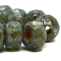 8x12mm Large Hole Roller Bead Tea Green with a Heavy Picasso Finish