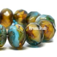 8x6mm Rondelle Pacific Blue, Amber, and White with Picasso Finish