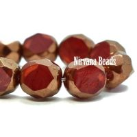 8mm Table Cut Faceted Round Ruby Red and Ladybug Red with a Bronze Finish