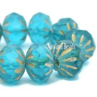 7x10mm Cruller Teal with An Etched Finish and Gold Wash