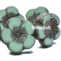 21mm Hibiscus Flower Blue Green with Purple-grey Metallic Finish