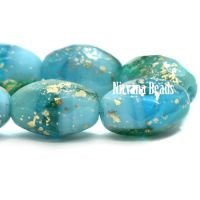 12x8mm Faceted Oval Pacific Blue and Medium Sky Blue with Gold Wash
