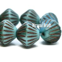 11mm Tribal Bicone Sky Blue, Emerald, and Teal with a Metallic Brown Wash