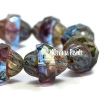 10x11mm Turbine Grape, Dark Periwinkle, Clear Glass