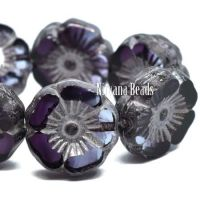 12mm Hibiscus Flower Plum with a Silver Wash