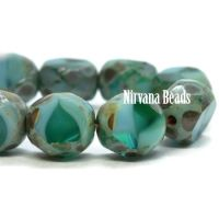 8mm Table Cut Faceted Round Sea Green and Sky Blue with a Picasso Finish