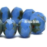 6x8mm Rondelle Cornflower with Picasso Finish