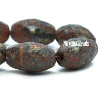8x12mm Faceted Oval Burnt Umber with a Picasso and Etched Finish